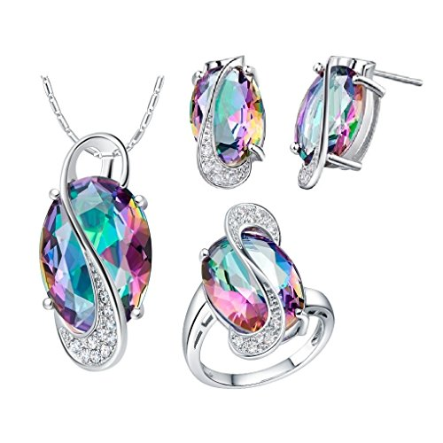 Uloveido Silver Plated Jewelry Set Rainbow Mystic Topaz Ring Earrings Pendant Necklace T472-Silver-Multi-8 ()
