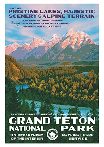 Grand Teton National Park, Snake River, Wyoming, WY, Poster Art on Magnet, Travel, Souvenir, Refrigerator, Locker Magnet 2 x 3 Fridge Magnet