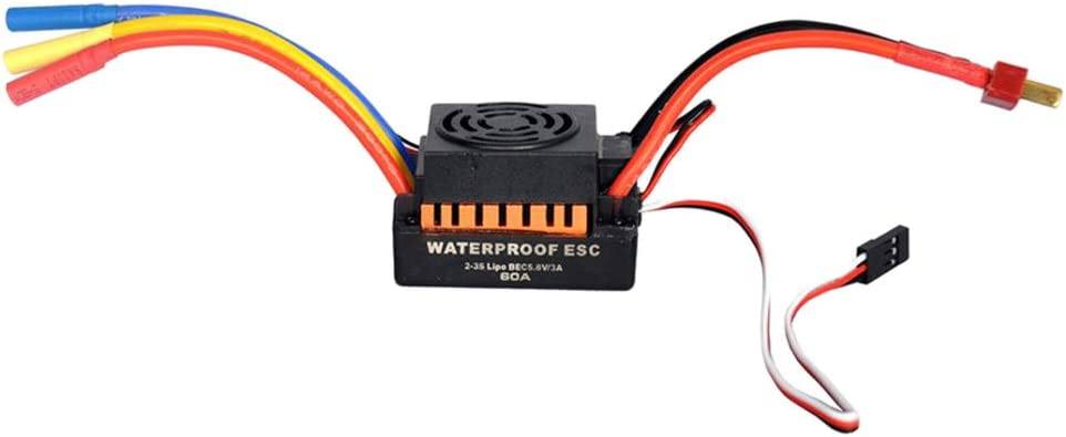 SaniMomo 1//10 RC Model Car 60A Sensorless Brushless ESC Replacement Parfs for Radio Controlled Vehicle 50x36x32mm Black