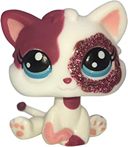 LPSCB Custom-Made Baby for Short Hair Cat #2291 Pink White Kitten Sparkle Glitter Eyes 1 Inch Kitty Mini Pet Toys