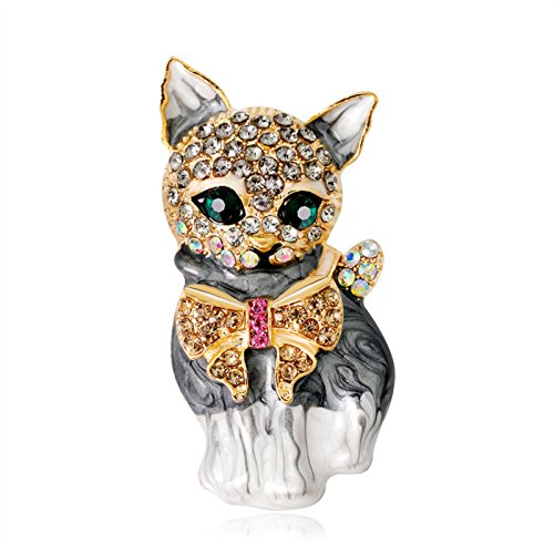 ptk12 Rhinestone Cute Animal Brooches Dog For Women Men Fashion Suit Lapel Pins Metal Crystal by ptk12