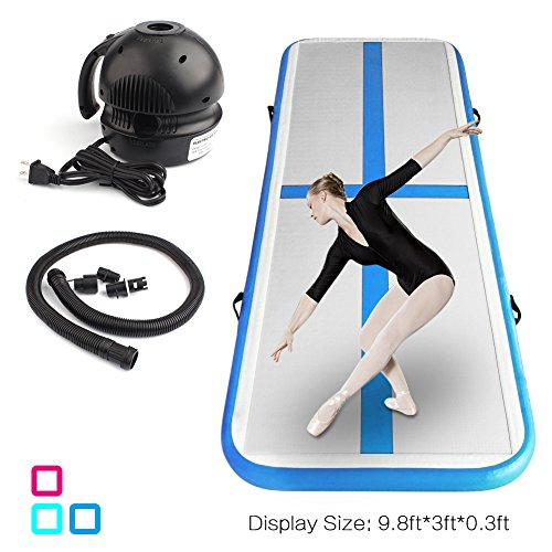 ShenCBnag Inflatable Gymnastics Air Track 9.8/13/16/19FT Length Airtrack Tumbling Mat Flooring Mat with Electric Air Pump for Gymnastic/Yoga/Water Floating/Camping Training Mat (Blue, 9.84)