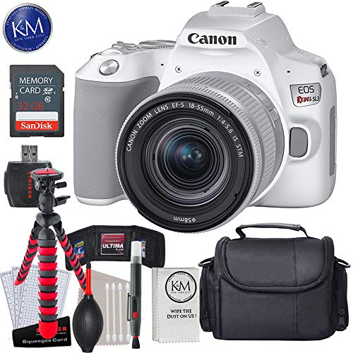 Canon EOS Rebel SL3 DSLR Camera with 18-55mm Lens (White) with Essential Striker Bundle