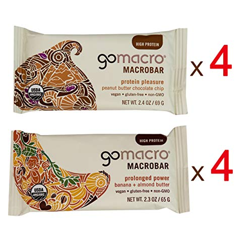 Gomacro Peanut Butter Chocolate Chip Gomacro Bar Banana Almond Butter Vartiety Pack | Gomacro Organic Bars | Gomacro Protein Bars | Gomacro Vegan Bars | Gomacro Macro Bars | 2 Flavors, 4 Bars of Each