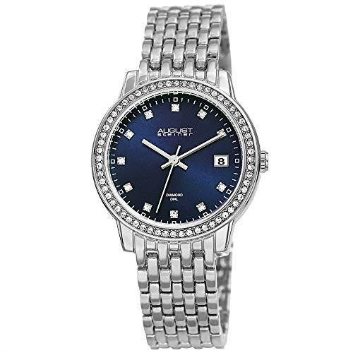 August Steiner China Crystal Studded Women's Watch - Stainless Steel Silver Bracelet Strap - Blue Sunray Dial with Diamond Markers, Quartz - AS8262BU
