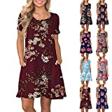 Womens Boho Swing Dress, Ladies Crew Neck Short Sleeve Floral Print Loose Shirt Dresses Clothes