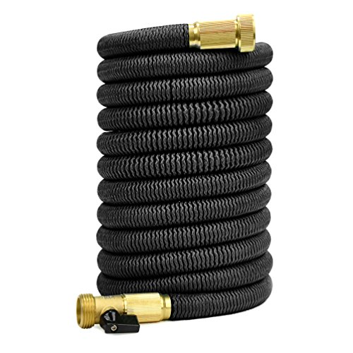 Glayko Tm 75 Feet Expandable Garden Hose – NEW 2018- Super Strong Construction- Strong Webbing -Solid Brass End – Shut-off Valve + Storage Bag
