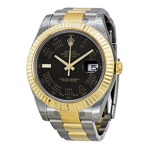 Rolex Datejust II Black Roman Dial 18k Yellow Gold Fluted Bezel Two Tone Oyster Bracelet Mens Watch -