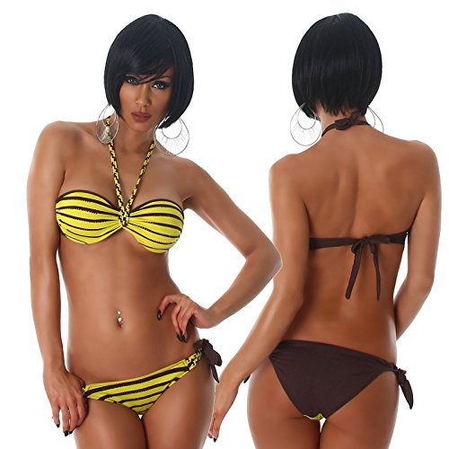 Bikini donna costume da bagno mare balconcino strass 2 pezzi nuovo