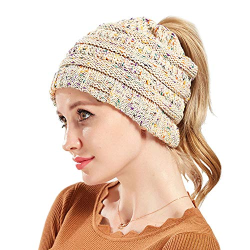 COCO LEE BeanieTail Ponytail Beanie Soft Stretch Cable Knit Messy High Bun Hat (Confetti (Multi Colored Pony)