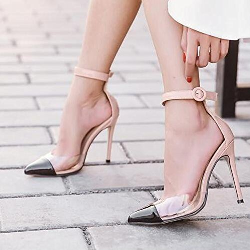 Easemax Kvinna Trendig Kontrasterande Färg Transparent Fotled Spänne Remmar Spetsig Tå Hög Stilett Klack Sandaler Aprikos