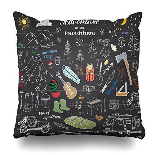 Pandarllin Throw Pillow Cover Trailer Drawing Camping Hiking Sketch Doodle Tool Sports Boat Recreation Fire Wood Adventure Alps Cushion Case Home Decor Design Square Size 20 x 20 Inches Pillowcase