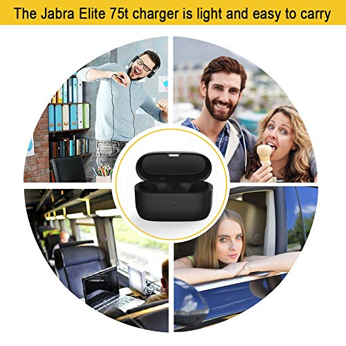 Charging Case Replacement Compatible with Jabra Elite Active 75t and Elite 75t, Earbuds Protective Charger Case Substitute, Capacity 700mah (Earbuds not Included, 75t Charging Case Cradle Dock Only)