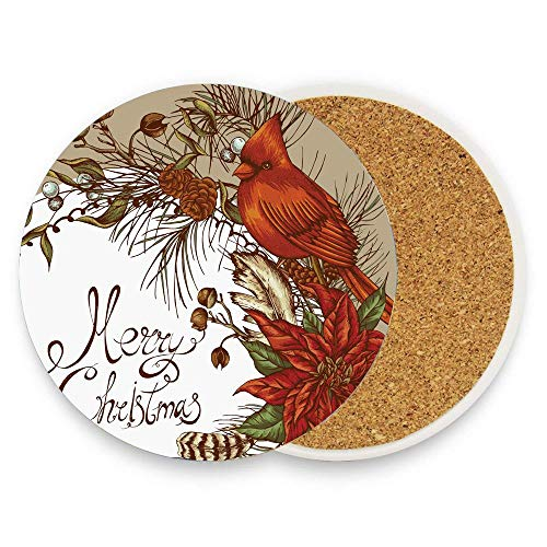 (FunnyToiletLidCoverBB Vintage Inspirations in Floral Arrangement of Christmas Poinsettia and Pine Cones Ceramic Coaster Absorbent Stone Coaster for Cold Mats Pack Of 1)