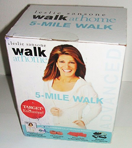 Leslie Sansone Walk At Home 5 Mile Walk Advanced Level Workout DVD (With Firming Band, 2-lb Soft Hand Weights, Walk - Sansone Belt Leslie