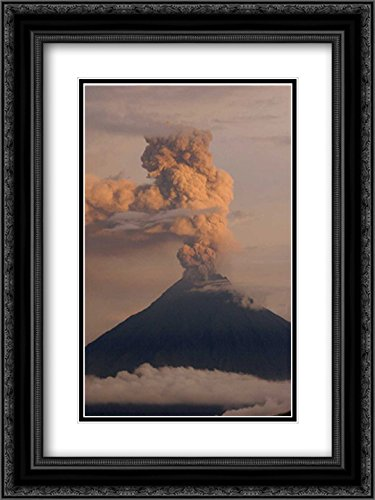 Tungurahua Volcano erupting, Active stratovolcano, Andes Mountains, Ecuador 2X Matted 18x24 Black Ornate Framed Art Print by Oxford, Pete (Volcano Oxford)