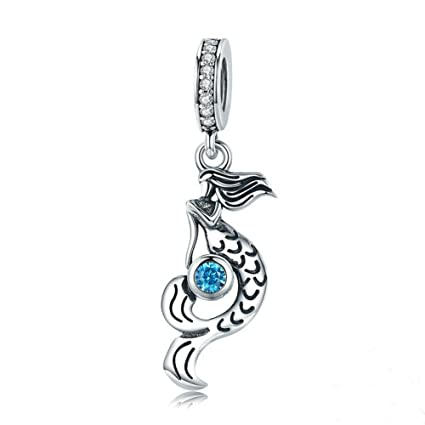 dcf19ff7a Amazon.com: Beauty Mermaid Charm 925 Sterling Silver Mysterious Retro  Pearl/Shell Bead Fit Lady ahd Girls