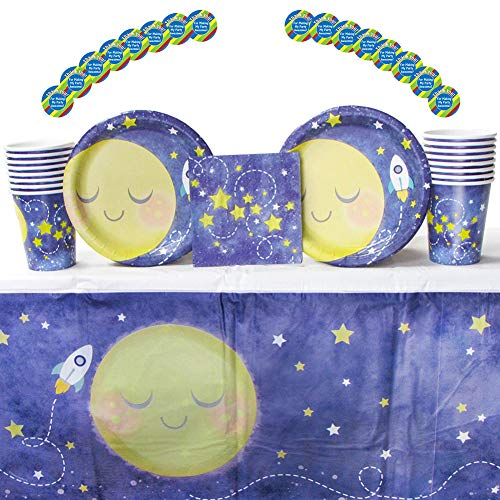 to The Moon and Back Party Supplies Pack for 16 Guests: Stickers, Dessert Plates, Beverage Napkins, Cups, and Table -