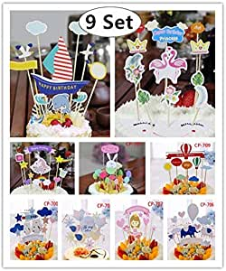 9 Set Cake Toppers, Magnoloran Mini Birthday Cake Snack Decorations Picks Party Favor Kit for Christmas Wedding Birthday Baby Shower Party Valentine's Day Decoration