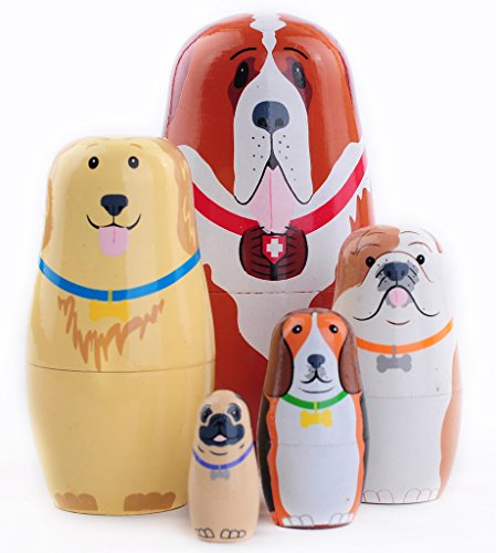 Moonmo 5pcs Beautiful Animal Handmade Wooden Russia Nesting Dolls Gift Russian Nesting Wishing Dolls Matryoshka Traditional