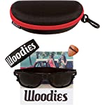 Woodies Ebony Wood Sunglasses with Black Polarized Lenses for Men or Women 13 COMFORTABLE: Wood is 50% Lighter than Ray-Bans Includes FREE Carrying Case, Lens Cloth, and Wood Guitar Pick Polarized Lenses Provide 100% UVA/UVB Protection
