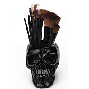 Skull Pen Holder/Skull Makeup Brush Holder/Pen Holder/Dressing Table Office Desk Storage Box/Green Plant Flower Pot/Halloween Skull(Black)