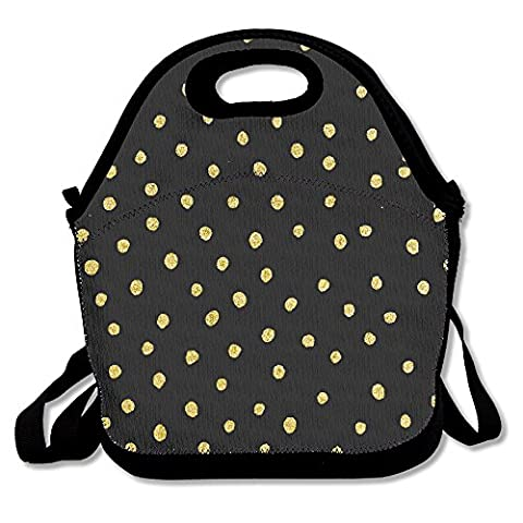 Golden Dot Personalized Insulated Lunch Bag Lunch Tote Neoprene Gourmet Cooler Warm Picnic Bag For School Work - Dots Personalized Lunch Box
