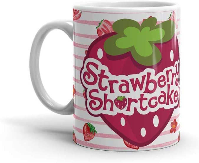Ceramic White Coffee Mug Strawberry Tea Shortcake Holidays Wedding Party Travel 11 Oz 15 For Office Home Dishwasher And Microwave Safe