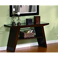 Midori Cherry Brown Sofa Table With Glass Top By Crown Mark Furniture