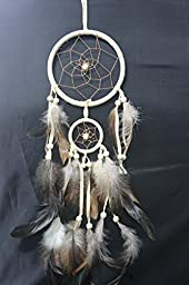 Traditional Beige Dream Catcher with Feathers Wall or Car Hanging Ornament 2 Round