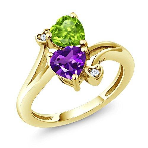 Gem Stone King 1.51 Ct Heart Shape Purple Amethyst Green Peridot 10K Yellow Gold Ring (Size 9) ()
