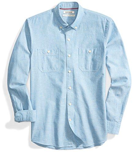 Goodthreads Men's Standard-Fit Long-Sleeve Chambray Shirt, Blue, Medium