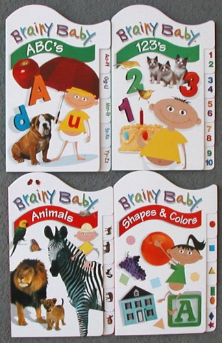Set of All 4 Books - Brainy Baby Learning Tab Books - ABCs - 123s - Animals - Shapes & Colors