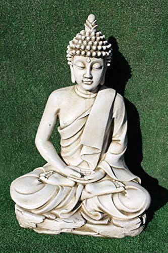 DEGARDEN AnaParra Estatua Buda delAmor Decorativa para Jardín o Exterior Hecho de hormigón-Piedra Artificial | Figura Buda Grande de 73cm, Color Ceniza: Amazon.es: Jardín