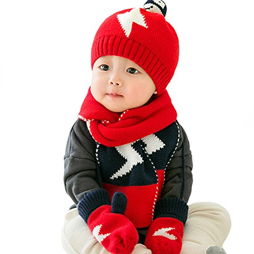 Baby Girls Boys Hat & Scarf & Gloves 3 Pieces Set Warm Lightning Pattern For Baby (Red)