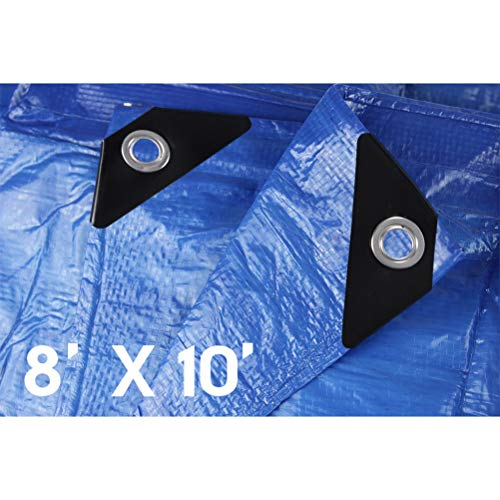 (Hanjet Lightweight Outdoor Tarp 8 x 10 5 Mil Multi-purpose Waterproof Reinforced Rip-Stop Tarps with Grommets Blue)