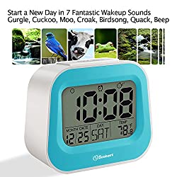Soobest Animal Sounds Electric Alarm Clock with Battery Backup, Adjustable Snooze Time and Manual Backlight, Ascending Volume, Simple Bedside Alarm Clock for Bedroom /Kids (Blue)