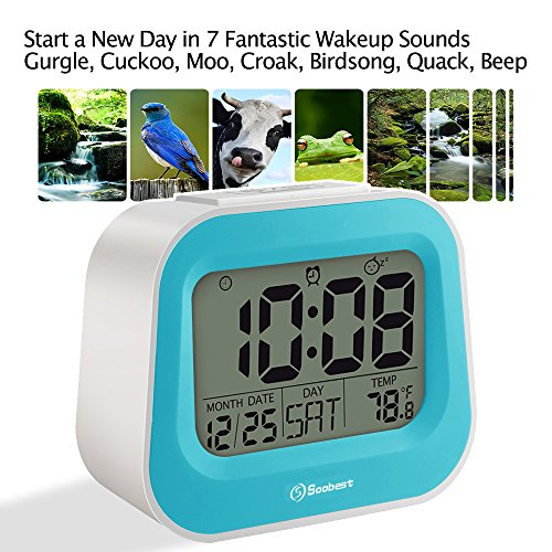 Soobest Animal Sounds Electric Alarm Clock with Battery Backup, Adjustable Snooze Time and Manual Backlight, Ascending Volume, Simple Bedside Alarm Clock for Bedroom /Kids (Blue) (Alarm Clock Birdsong)