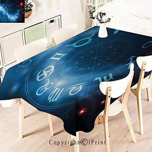 Rectangle Polyester Tablecloth, Signs Virgo Scorpio Sagittarius with Abstract,Vintage Printed and Spill Proof Table Cover for Home and Kitchen,W55 xL55,Blue White and Red