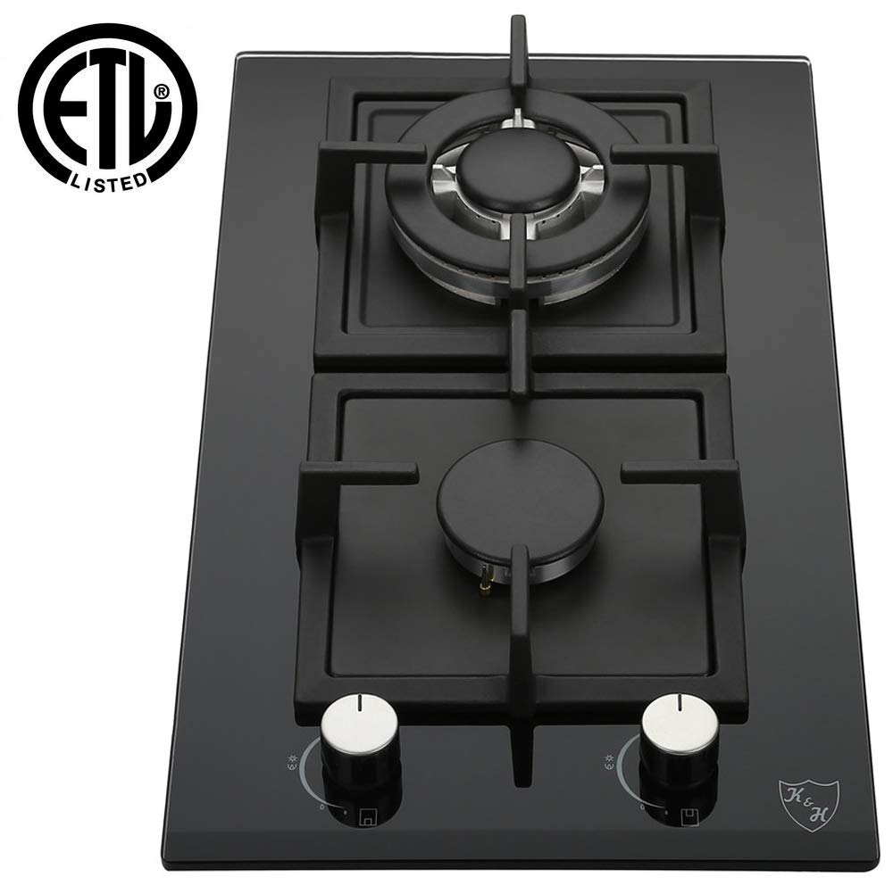 "K&H 2 Burner 12"" LPG/Propane Gas Glass Cooktop 2-GCW-LPG"