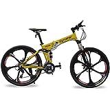 Cyrusher FR100 Full Suspenion 24 Speeds Folding Mountain Bike with 17-Inch X 26-Inch Aluminium Frame Disc Brake,