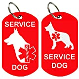 Service Dog ID Tags - Personalized Front and Back Premium Aluminum (Set of 2) (Regular, Military Red)
