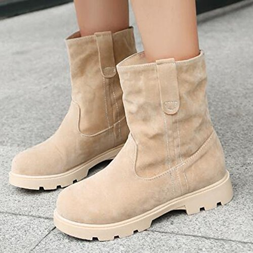 Easemax Womens Trendy Givré Bout Rond Bas Chunky Talon Bottes Beige
