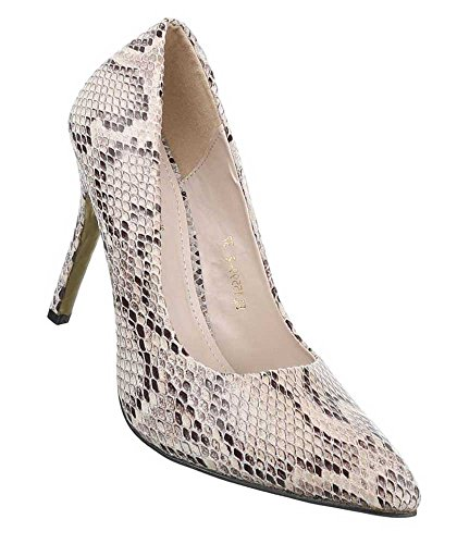 Damen Pumps Schuhe High Heels Stiletto Abendschuhe Club Party Schwarz Beige 35 36 37 38 39 40 Beige