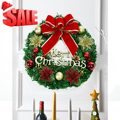 RuoShui Christmas Wreath, Artificial Merry Christmas Wreath Outdoor Decorative Christmas Garland Ornament Vintage Christmas Garland Decorations (Indoor Garland Decorative Christmas)