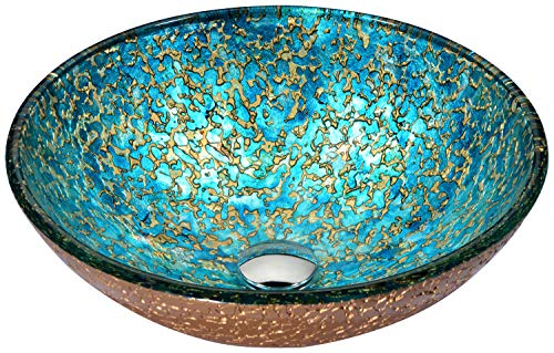 - ANZZI Chrona 16.5 in x 16.5 in Modern Tempered Deco Glass Vessel Bathroom Round Sink in Gold/Cyan Mix | Lavatory Top Mount Installation Oval Toilet Sink | LS-AZ209