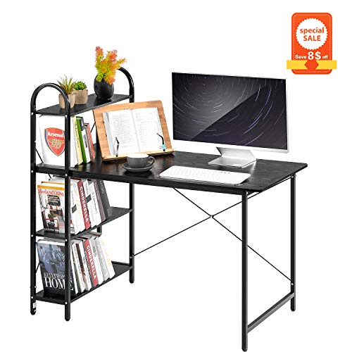 AOOU Computer Desk, Modern Styled Home Office Desk with 4 Tier Bookshelves, Office Desk with Sturdy Frame Desk for Home Office, 46.9x45.3x22.8 Inches, Black