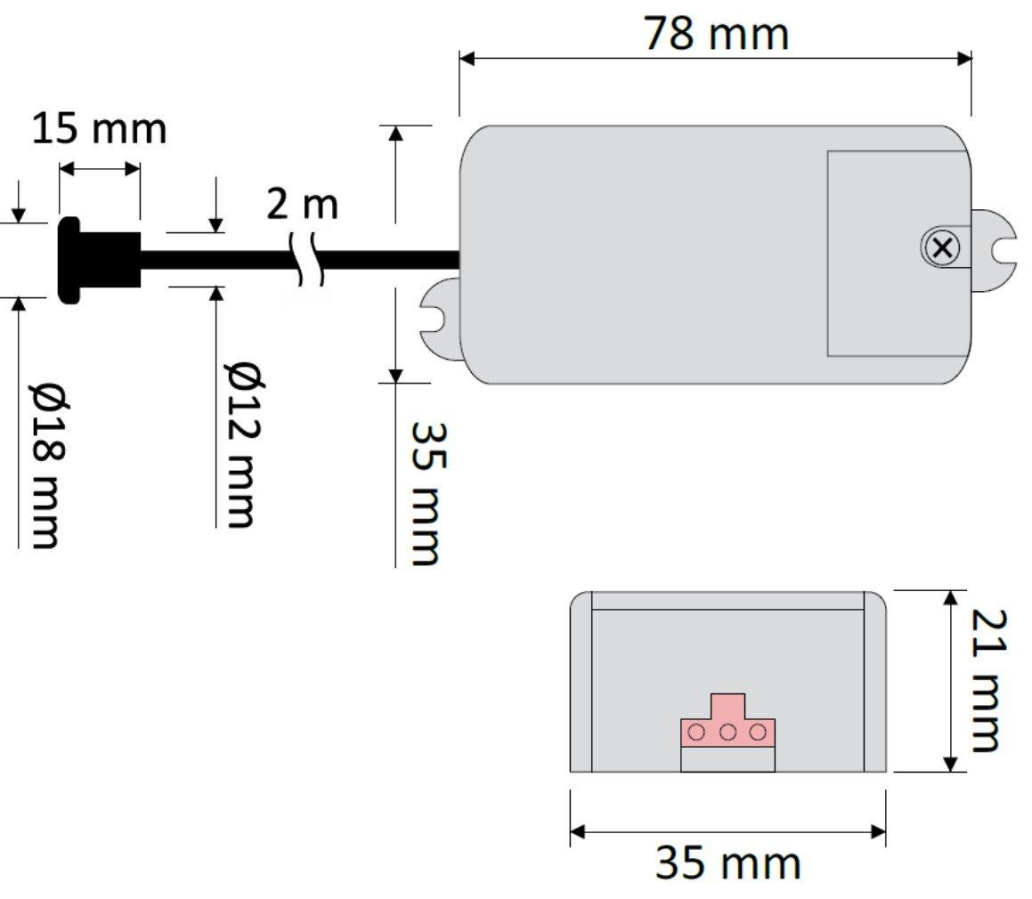 Mini empotrable IR Sensor Detector de movimiento 12 V 36 W - LED Adecuado - Carga mínima solo 1 W hasta max. 36 W - ideal para una instalación en muebles, ...
