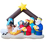 Holidayana Christmas Inflatable Giant 6.5 Ft. Nativity Scene Inflatable Featuring Lighted Interior / Airblown Inflatable Christmas Decoration With Built In Fan And Anchor Ropes