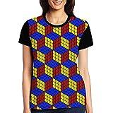 Rubik's Puzzle Game Women's Raglan T-Shirt Short Sleeve Sport Baseball Tees Tops Undershirts